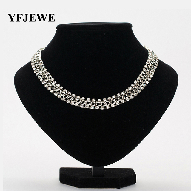 YFJEWE New Fashion Thick Chain Rhinestones Crystal Beads Choker Luxury  Chunky Necklace Statement Jewelry for Party Gift N121 0027c1c5dc9e