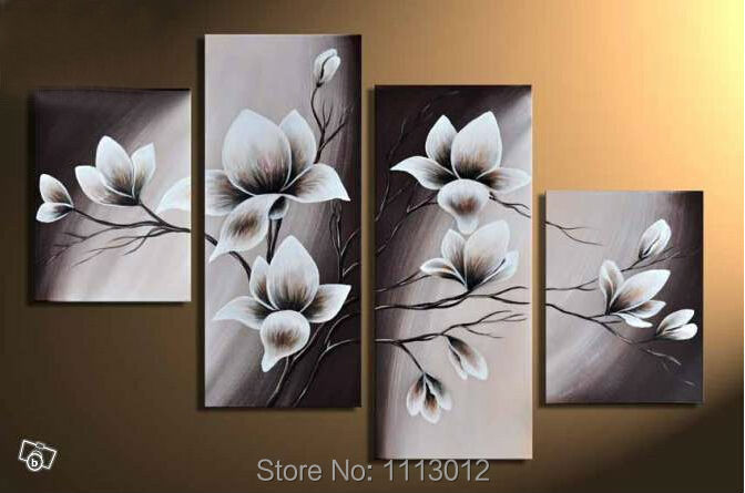 White Hand Painted Camellia Flower Oil Painting On Canvas 4 Pcs Sets Abstract Home Modern Wall Art Decor For Living Room Sale