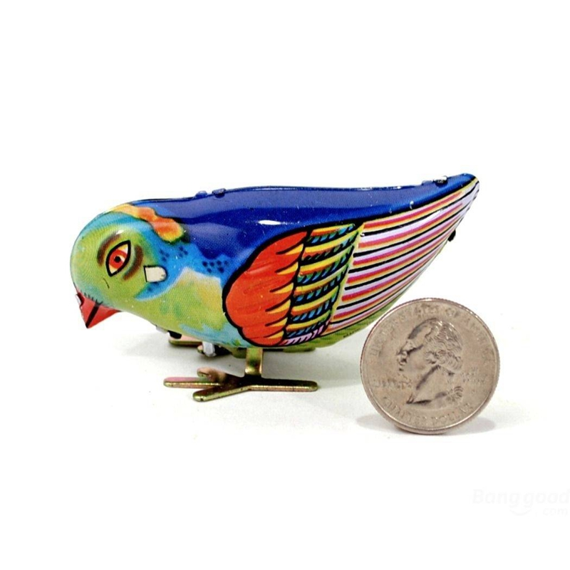JIMITU New Arrival Vintage Wind-Up Magpie Bird Pecking Tin Toys For Children Mechanical Toy For Kids