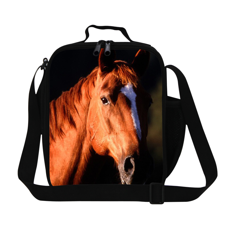 Personalized Horse print lunch bag for man work,boys cool lunch container,fashion insulated lunch bag,shoulder food bag for kids