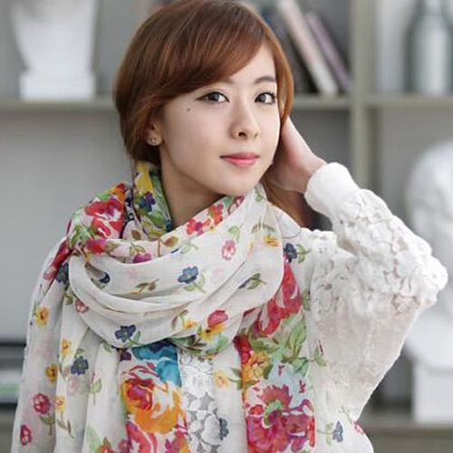 Women Fashion Flower Floral Print Soft Long Wrap Scarf Stole Shawl Xmas Gift