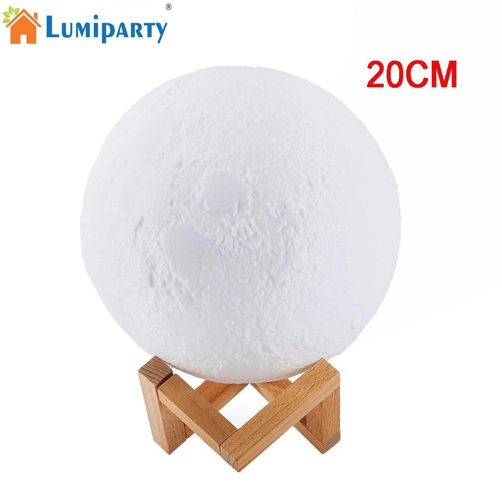 LumiParty 20 cm Simulation 3D Mond Nachtlicht 3 LEDs USB Wiederaufladbare Moonlight Schreibtischlampe mit Holz Basis
