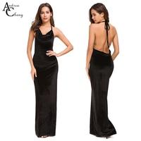 32cdf1b53dc0c Spring Summer Woman Dress Spaghetti Strap Backless Black Velour Velvet  Dress Gown Sexy Party Event Floor