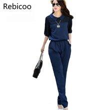 hot deal buy large size 3xl 4xl summer jumpsuits 2018 one piece pants lapel elegant blue long trousers women jumpsuits