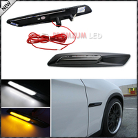 2pcs For BMW F10 Style White Amber Switchback LED Light Black Finish Side Marker Lamps For