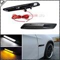 2 unids Para BMW F10 Estilo Blanco/Ámbar LED Switchback Luz Negro Acabado Lateral Luces de posición Para BMW E90 E92 E60 1 3 5 Serie X1