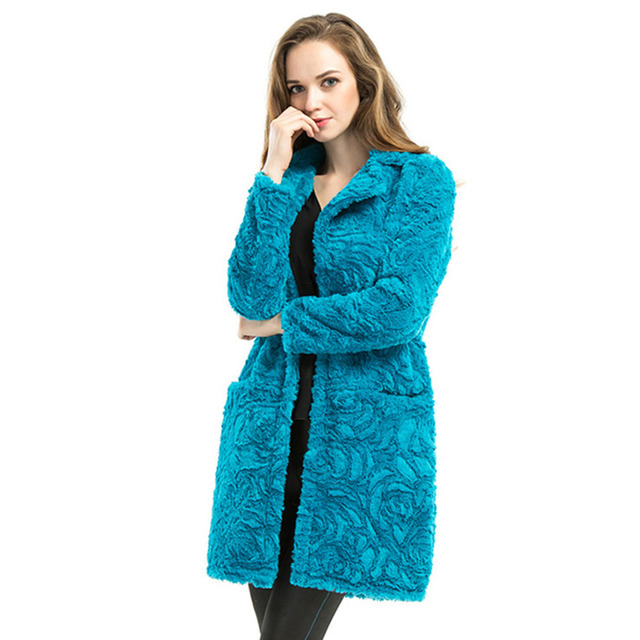 Autumn Winter Casual Fake Fur Coat Streetwear Plus Size Jacket Women Fashion Turn-down Collar Pockets Long Outerwear