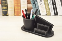 Curved Pen Pencil Holder Box With Business Card Stand Case Wood And Leather Office Desk Stationery
