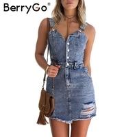 BerryGo Sexy Strap Vintage Denim Dress Women V Neck High Waist Bodycon Dress 2017 Autumn Short