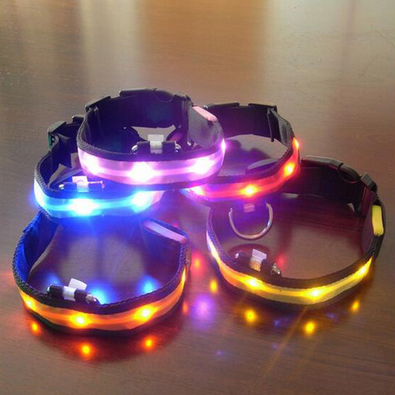 Nylon LED Pet Dog Collar Night Safety Anti-lost Flashing Glow Collars Dog Supplies 7 colors S M L XL Size for pet dogs 3 mode blue light led flashing dog collar blue 2 x cr2016