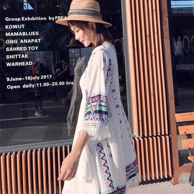 2018 Summer Ethnic Cardigan Women Tops And Blouses Kimono Plus Size Women Clothing Linen Long Tunic Shirt Blusas Y Camisas Mujer