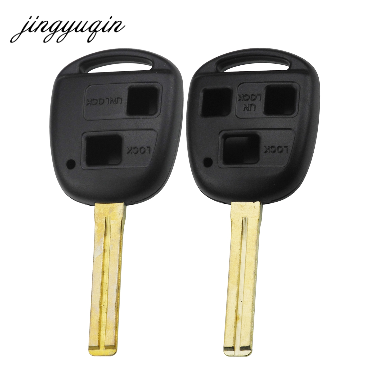 jingyuqin Remote Key Shell Replacement for Toyota Land Cruiser 2 Button Uncut Key Fob Case Blade TOY48 toy48