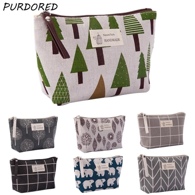 PURDORED 1 pc Women Plaid Travel Cosmetic Bag Makeup Bag Flower Cosmetics Make Up Bags Travel Beauty Organizer Dropshipping