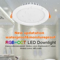 Mi Light FUT069 AC85V-265V 15W RGB+CCT Dimmable LED Downlight Waterproof Round Recessed Light wireless wifi control For Bathroo