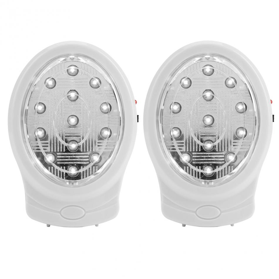 Rechargeable Home Emergency Light 2W 110-240V EU/US Plug 13 LED Automatic Power Failure Outage Lamp Bulb Night Light