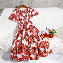 Nouveau 2020 piste concepteur fleur robe d'été femmes coupe à froid épaule Slash cou rouge Rose imprimé fleuri robe de soirée