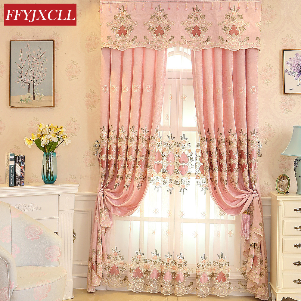 Modern Hot Sales Embroidered Pink Blackout Curtains Window For Living Room Bedroom Girl Kitchen Tulle Curtains Drapes