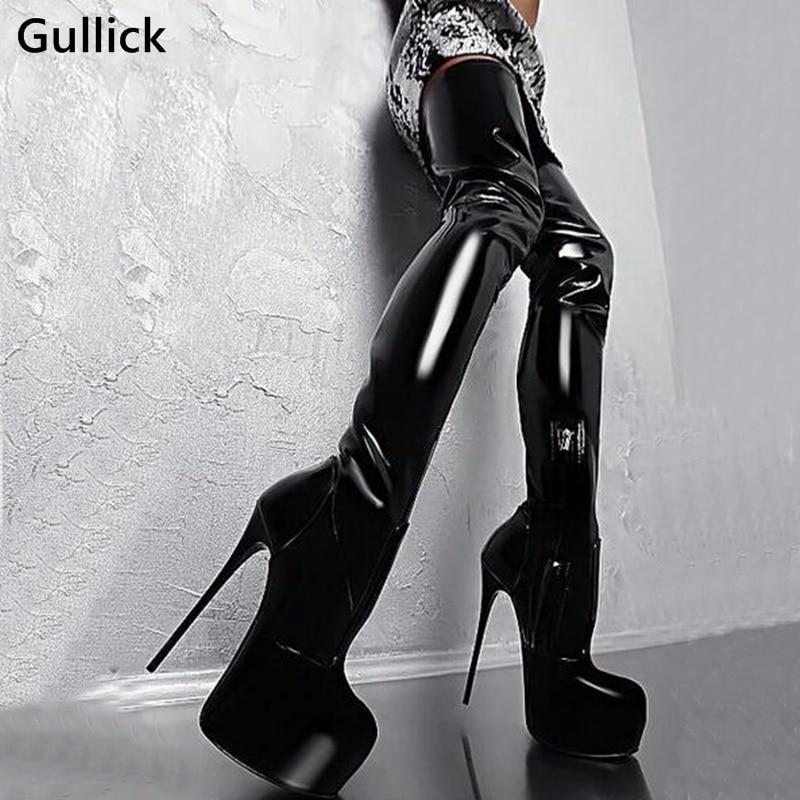 Stunning 16 CM Stiletto Heel Female Thigh High Boots Glamorous Round Toe Platform Gladiator Nightclub Women Boots Side Zip