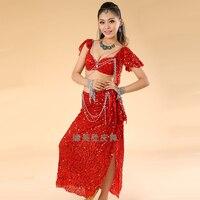 Belly dance trang phục( bellydance bra+shiny váy) Bollywood nhảy trang phục 8 màu sắc khiêu vũ mặc bên chiếc váy bộ lạc miễn phí vận chuyển