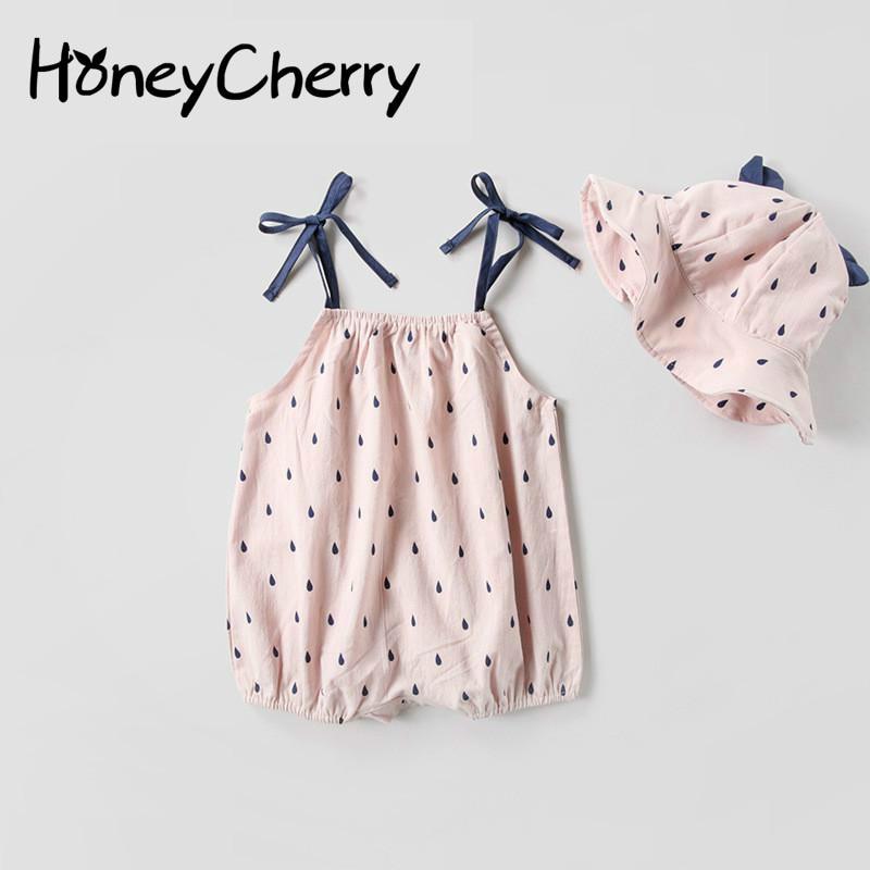 2018 summer Bodysuit Baby Color Printing Rain Spot Baby Girl Summer Clothes Children Pink Clothes cotton Bodysuit Kids Clothes