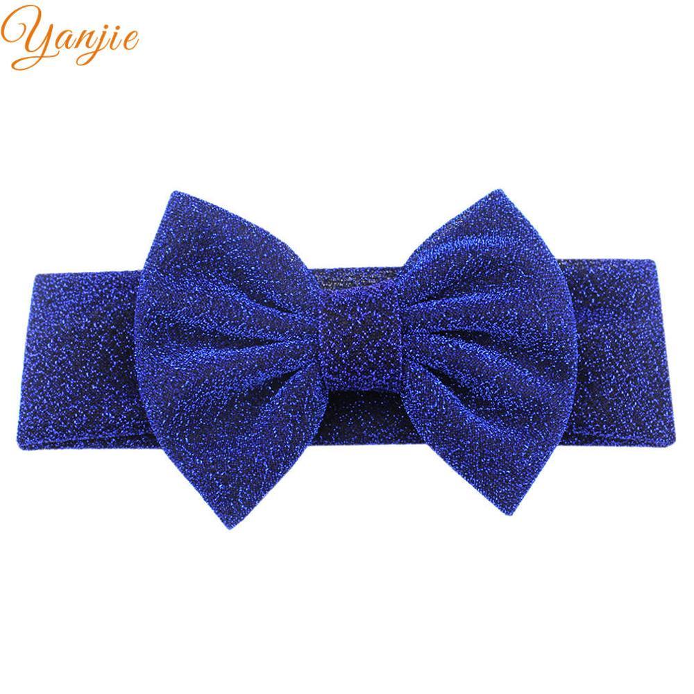 """Для девочек; плотная эластичная повязка на голову для детей с блестками бант повязка на волосы """"тюрбан"""" женские аксессуары для волос для детей эластичные резинки для волос Головные уборы - Цвет: royal"""