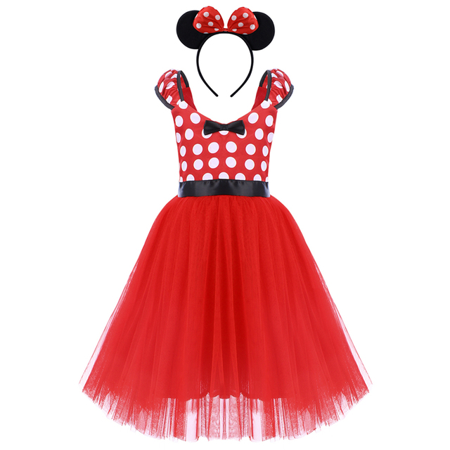 26912cb9841 2pcs Set Mickey Mouse Clothing for Girls Child Birthday Party Minnie Mouse  Dress Headband Mickey Fancy