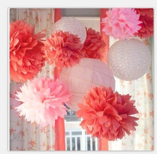 Coralpinkwhite Paper Decoration Set Crisscross Ribbing Paper