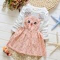 Elsa Vestido A-line Apressado Algodão das Crianças Roupas de Outono 2016 Meninas Bebê Dos Desenhos Animados Manga Comprida Crianças Princesse Vestido de Ano Novo