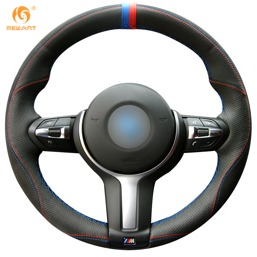 Black Leather Black Suede Car Steering Wheel Cover for BMW F87 M2 F80 M3 F82 M4 M5 F12 F13 M6 F85 X5 M F86 X6 M F33 F30 M Sport runba ice silk steering wheel cover sets with red thread