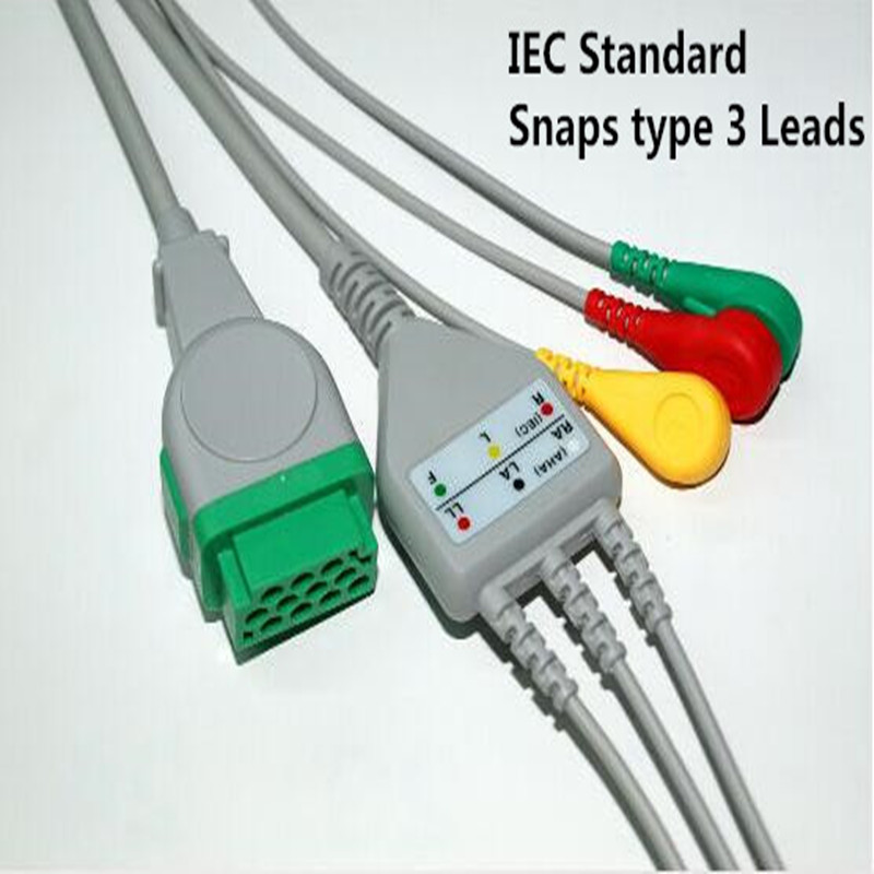 Free Shipping One Piece 3 Leads ECG/EKG Cable Snap Type For GE Marquette GE Dash Pro4000, DASH PRO 3000, Dash PRO 2000,IEC TPU