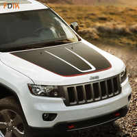 Sport Racing Black with Red Large Hood Engine Head Graphics Vinyl Decals Sticker for Jeep Grand Cherokee 2014-2018