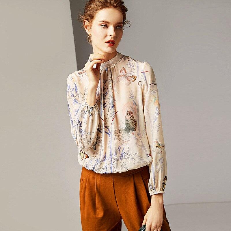 100% 실크 블라우스 여성 셔츠 인쇄 탄성 허리 디자인 스탠드 목 긴 소매 우아한 스타일 오피스 탑 새로운 패션 2019-에서블라우스 & 셔츠부터 여성 의류 의  그룹 2