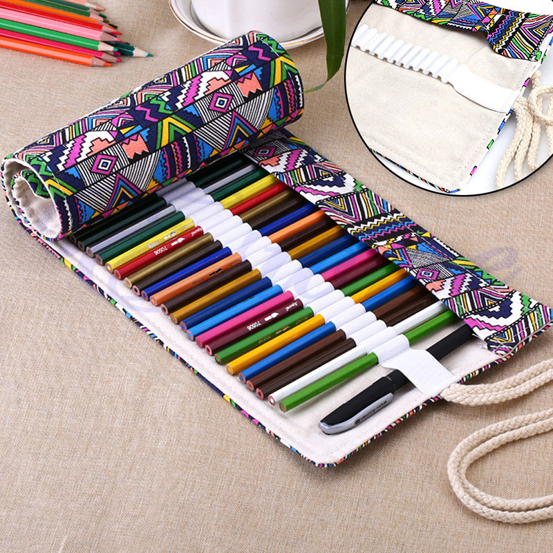 New 36/48/72 Holes Canvas Wrap Roll Up Pencil Pen Bag Holder Case Storage Pouch
