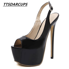 TTSDARCUPS New European Street patted classic 16 cm high heeled fish mouth shoes Sexy Rome style sandals Womens heel