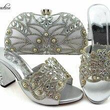 40c350db1ef7fa Haute classe argent partie sandale à talon haut avec sac belles chaussures  et bourse de soirée