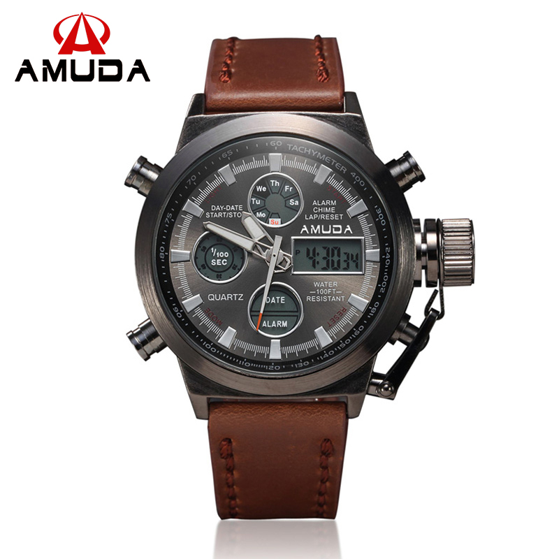 2016 AMUDA Brand Dive LED Watches font b Men b font Sport Military Watch Genuine Leather