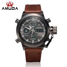 2016 AMUDA Marca de Buceo LED Relojes de Los Hombres Del Deporte Militar Reloj de Cuarzo de Cuero Genuino Reloj de Los Hombres Relojes de Pulsera Relogio masculino