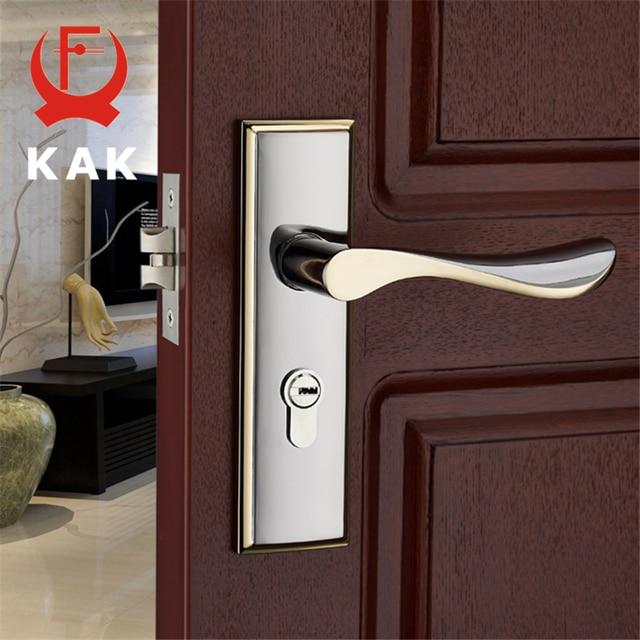KAK Modern Mute Room Door Lock Handle Fashion Interior Door Knobs Single Bolt Door Lock Anti-theft Gate Lock Furniture Hardware