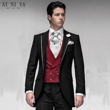 New Design Black Groom Tuxedos Groomsmen Men's Wedding Suits Best man Suits (Jacket+Pants+Vest+Tie)