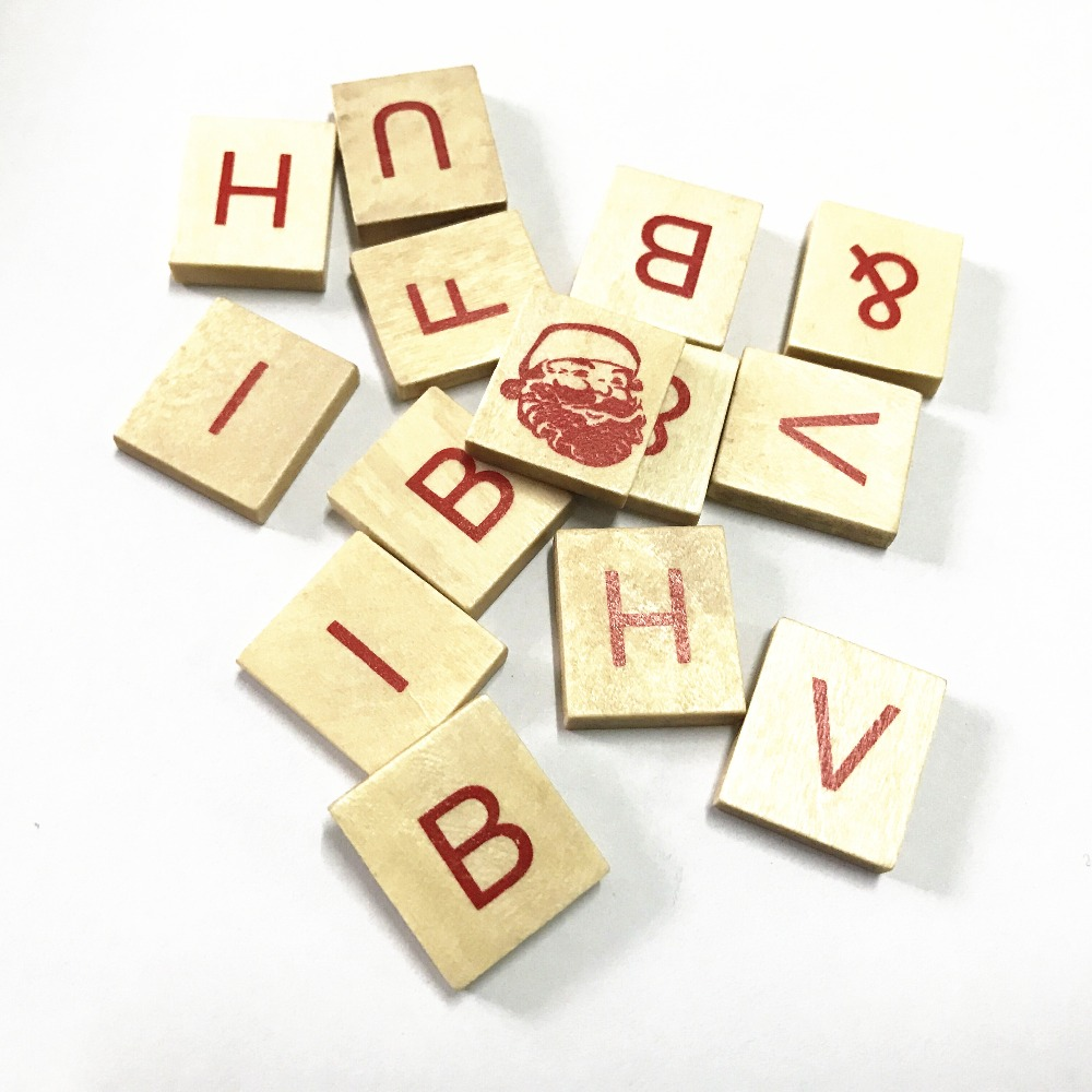 ᗚ100 pcs 18*20mm natural letters alphabet wooden sewing buttons ...