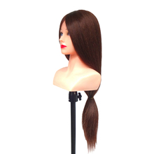 100% real human hair hairdresser cosmetology silicone practice training mannequin manikin head doll with mount hole 29inch 85% Human Hair Mannequin Head With Shoulder Hairdresser Cosmetology Practice Training Head Hair Stying Manikin Head