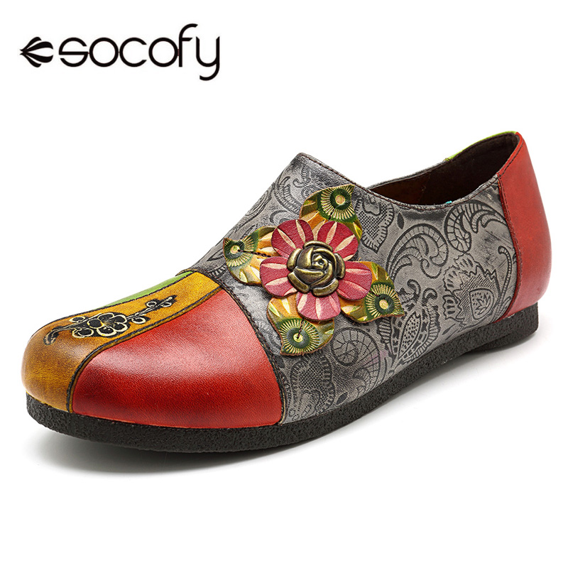 Socofy Big Size Vintage Bohemian Genuine Leather Loafers Sneakers Women Shoes Casual Zipper Flat Ladies Shoes Woman Autumn 2018 original handmade autumn women genuine leather shoes cowhide loafers real skin shoes folk style ladies flat shoes for mom sapato