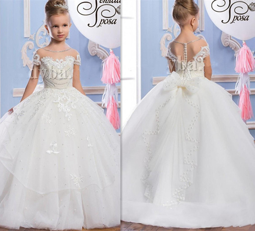 White Pearls Beading Girls Dresses Ball Gown First Communion Dress O Neck Sheer Princess Pageant Gown Flower Girls Dresses цена 2017