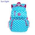 Солнце Восемь голубой горошек школьные сумки для девочек детей рюкзаки bagpack школьный bookbag девушка школы рюкзак дети мешок