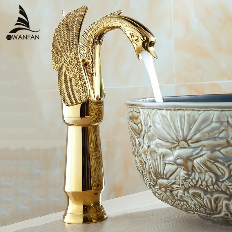 Bacia torneiras nova alta cisne torneira arco design luxo lavagem torneiras misturadoras de bronze quente e fria banhado a ouro único furo HJ-36K