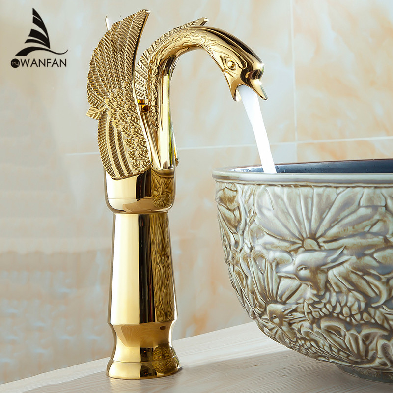 Basin Faucets New High Swan Faucet Arch Design Luxury Wash Mixer Taps Brass Hot And Cold Taps Gold Plated Single Hole Tap HJ-36K gold color swan design hot