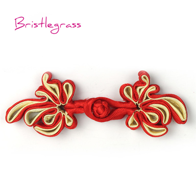 5 Pair Handmade Red Rose Flower Chinese Frog Closure Knot Button Ribbon Fastener