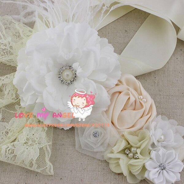 1 Stücke Weiß Elfenbein Blume Schärpe Pfingstrose Blume Schärpe Hochzeit Schärpe Baby Mädchen Schärpe Fotografie Requisiten Top Wassermelonen