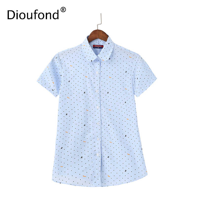 Dioufond Short Printed Women's Fashion Blouses Cotton Turn-down Collar Female Tops Summer Blusa Feninina Casual Plus Size Blusas