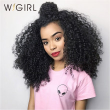 "Wigirl Hair Kinky Curly Wig Brazilian Lace Front Human Hair Wigs with Baby Hair Virgin Hair Lace Wigs 12""-26"" Natural Hairline(China)"